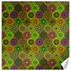 Bohemian Hand Drawing Patterns Green 01 Canvas 20  X 20   by Cveti