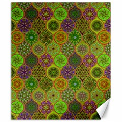 Bohemian Hand Drawing Patterns Green 01 Canvas 20  X 24   by Cveti