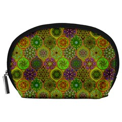 Bohemian Hand Drawing Patterns Green 01 Accessory Pouches (large)  by Cveti