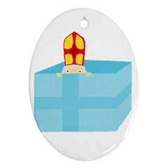 Funny Cute Kids Art St Nicholas St  Nick Sinterklaas Hiding In A Gift Box Oval Ornament (two Sides) by yoursparklingshop