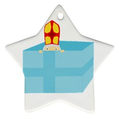 Funny Cute Kids Art St Nicholas St  Nick Sinterklaas Hiding In A Gift Box Star Ornament (two Sides) by yoursparklingshop