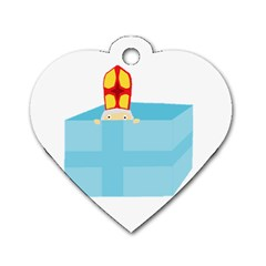 Funny Cute Kids Art St Nicholas St  Nick Sinterklaas Hiding In A Gift Box Dog Tag Heart (one Side) by yoursparklingshop
