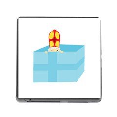 Funny Cute Kids Art St Nicholas St  Nick Sinterklaas Hiding In A Gift Box Memory Card Reader (square) by yoursparklingshop