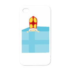 Funny Cute Kids Art St Nicholas St  Nick Sinterklaas Hiding In A Gift Box Apple Iphone 4 Case (white) by yoursparklingshop