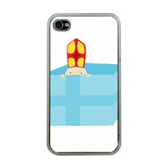 Funny Cute Kids Art St Nicholas St  Nick Sinterklaas Hiding In A Gift Box Apple Iphone 4 Case (clear) by yoursparklingshop