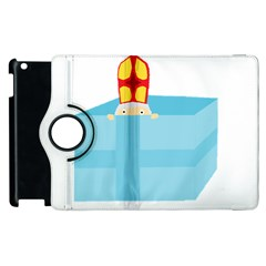 Funny Cute Kids Art St Nicholas St  Nick Sinterklaas Hiding In A Gift Box Apple Ipad 2 Flip 360 Case by yoursparklingshop