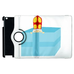 Funny Cute Kids Art St Nicholas St  Nick Sinterklaas Hiding In A Gift Box Apple Ipad 3/4 Flip 360 Case