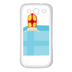 Funny Cute Kids Art St Nicholas St  Nick Sinterklaas Hiding In A Gift Box Samsung Galaxy S3 Back Case (white) by yoursparklingshop