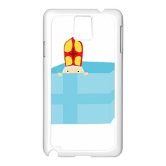 Funny Cute Kids Art St Nicholas St  Nick Sinterklaas Hiding In A Gift Box Samsung Galaxy Note 3 N9005 Case (white) by yoursparklingshop