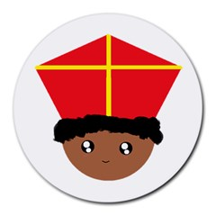 Cutieful Kids Art Funny Zwarte Piet Friend Of St  Nicholas Wearing His Miter Round Mousepads by yoursparklingshop