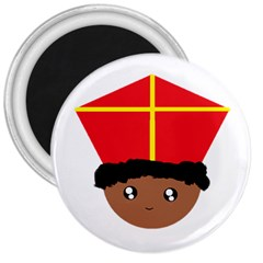 Cutieful Kids Art Funny Zwarte Piet Friend Of St  Nicholas Wearing His Miter 3  Magnets by yoursparklingshop