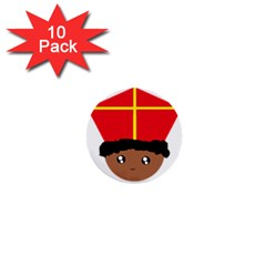 Cutieful Kids Art Funny Zwarte Piet Friend Of St  Nicholas Wearing His Miter 1  Mini Buttons (10 Pack)  by yoursparklingshop