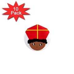 Cutieful Kids Art Funny Zwarte Piet Friend Of St  Nicholas Wearing His Miter 1  Mini Magnet (10 Pack)  by yoursparklingshop