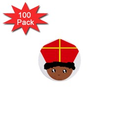 Cutieful Kids Art Funny Zwarte Piet Friend Of St  Nicholas Wearing His Miter 1  Mini Buttons (100 Pack)  by yoursparklingshop