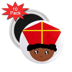 Cutieful Kids Art Funny Zwarte Piet Friend Of St  Nicholas Wearing His Miter 2 25  Magnets (10 Pack)  by yoursparklingshop