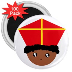 Cutieful Kids Art Funny Zwarte Piet Friend Of St  Nicholas Wearing His Miter 3  Magnets (100 Pack) by yoursparklingshop