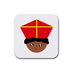 Cutieful Kids Art Funny Zwarte Piet Friend Of St  Nicholas Wearing His Miter Rubber Square Coaster (4 Pack)  by yoursparklingshop