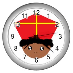 Cutieful Kids Art Funny Zwarte Piet Friend Of St  Nicholas Wearing His Miter Wall Clocks (silver)  by yoursparklingshop