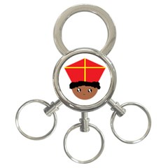 Cutieful Kids Art Funny Zwarte Piet Friend Of St  Nicholas Wearing His Miter 3 Ring Key Chains by yoursparklingshop