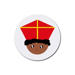 Cutieful Kids Art Funny Zwarte Piet Friend Of St  Nicholas Wearing His Miter Rubber Round Coaster (4 Pack)  by yoursparklingshop