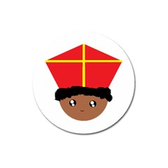 Cutieful Kids Art Funny Zwarte Piet Friend Of St  Nicholas Wearing His Miter Magnet 3  (round) by yoursparklingshop
