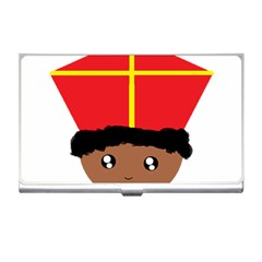 Cutieful Kids Art Funny Zwarte Piet Friend Of St  Nicholas Wearing His Miter Business Card Holders by yoursparklingshop