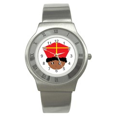 Cutieful Kids Art Funny Zwarte Piet Friend Of St  Nicholas Wearing His Miter Stainless Steel Watch by yoursparklingshop