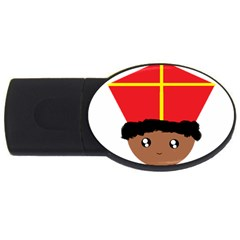 Cutieful Kids Art Funny Zwarte Piet Friend Of St  Nicholas Wearing His Miter Usb Flash Drive Oval (4 Gb) by yoursparklingshop