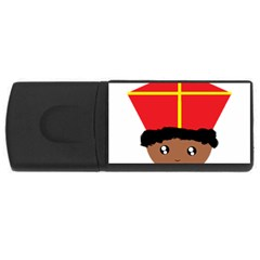 Cutieful Kids Art Funny Zwarte Piet Friend Of St  Nicholas Wearing His Miter Rectangular Usb Flash Drive by yoursparklingshop