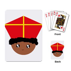 Cutieful Kids Art Funny Zwarte Piet Friend Of St  Nicholas Wearing His Miter Playing Card by yoursparklingshop