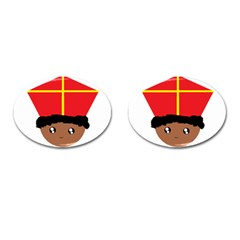 Cutieful Kids Art Funny Zwarte Piet Friend Of St  Nicholas Wearing His Miter Cufflinks (oval) by yoursparklingshop