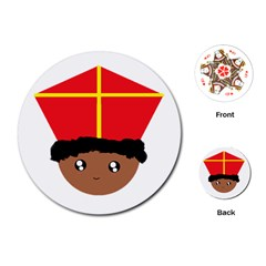 Cutieful Kids Art Funny Zwarte Piet Friend Of St  Nicholas Wearing His Miter Playing Cards (round)  by yoursparklingshop