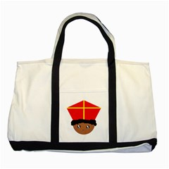 Cutieful Kids Art Funny Zwarte Piet Friend Of St  Nicholas Wearing His Miter Two Tone Tote Bag by yoursparklingshop