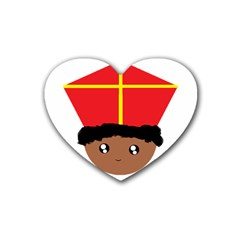 Cutieful Kids Art Funny Zwarte Piet Friend Of St  Nicholas Wearing His Miter Rubber Coaster (heart)  by yoursparklingshop