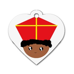 Cutieful Kids Art Funny Zwarte Piet Friend Of St  Nicholas Wearing His Miter Dog Tag Heart (one Side) by yoursparklingshop