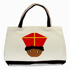 Cutieful Kids Art Funny Zwarte Piet Friend Of St  Nicholas Wearing His Miter Basic Tote Bag (two Sides) by yoursparklingshop