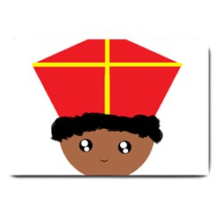 Cutieful Kids Art Funny Zwarte Piet Friend Of St  Nicholas Wearing His Miter Large Doormat  by yoursparklingshop