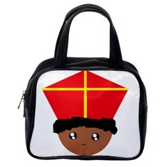 Cutieful Kids Art Funny Zwarte Piet Friend Of St  Nicholas Wearing His Miter Classic Handbags (one Side) by yoursparklingshop