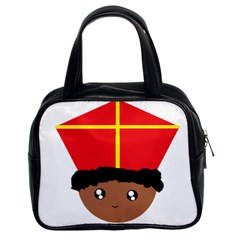 Cutieful Kids Art Funny Zwarte Piet Friend Of St  Nicholas Wearing His Miter Classic Handbags (2 Sides) by yoursparklingshop