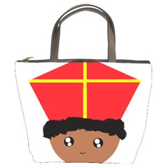 Cutieful Kids Art Funny Zwarte Piet Friend Of St  Nicholas Wearing His Miter Bucket Bags by yoursparklingshop