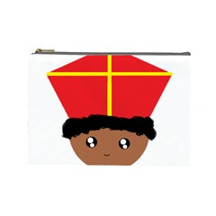Cutieful Kids Art Funny Zwarte Piet Friend Of St  Nicholas Wearing His Miter Cosmetic Bag (large)  by yoursparklingshop