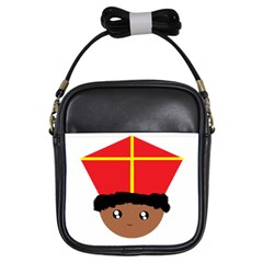 Cutieful Kids Art Funny Zwarte Piet Friend Of St  Nicholas Wearing His Miter Girls Sling Bags by yoursparklingshop