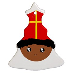 Cutieful Kids Art Funny Zwarte Piet Friend Of St  Nicholas Wearing His Miter Christmas Tree Ornament (two Sides) by yoursparklingshop