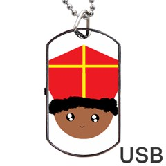 Cutieful Kids Art Funny Zwarte Piet Friend Of St  Nicholas Wearing His Miter Dog Tag Usb Flash (two Sides) by yoursparklingshop