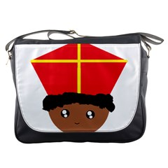 Cutieful Kids Art Funny Zwarte Piet Friend Of St  Nicholas Wearing His Miter Messenger Bags by yoursparklingshop