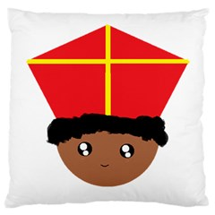 Cutieful Kids Art Funny Zwarte Piet Friend Of St  Nicholas Wearing His Miter Large Cushion Case (two Sides) by yoursparklingshop