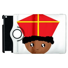 Cutieful Kids Art Funny Zwarte Piet Friend Of St  Nicholas Wearing His Miter Apple Ipad 3/4 Flip 360 Case by yoursparklingshop