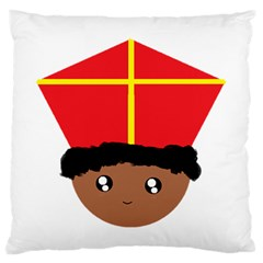 Cutieful Kids Art Funny Zwarte Piet Friend Of St  Nicholas Wearing His Miter Large Flano Cushion Case (one Side) by yoursparklingshop