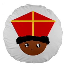 Cutieful Kids Art Funny Zwarte Piet Friend Of St  Nicholas Wearing His Miter Large 18  Premium Flano Round Cushions by yoursparklingshop