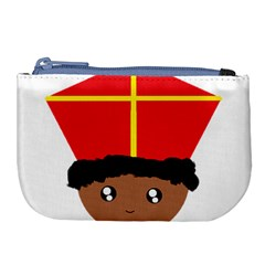 Cutieful Kids Art Funny Zwarte Piet Friend Of St  Nicholas Wearing His Miter Large Coin Purse by yoursparklingshop